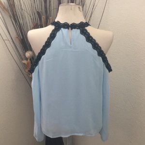 XOXO Tops - XOXO Baby Blue Cold Shoulder Blouse w/ Black Lace
